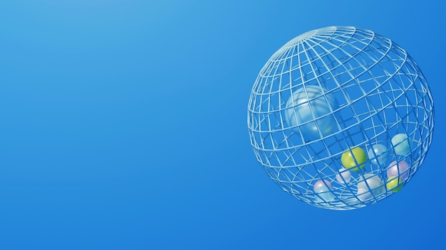 블루 추상적 인 영역 3d 그림 와이어 프레임 모델 지구 선, 공간, 원