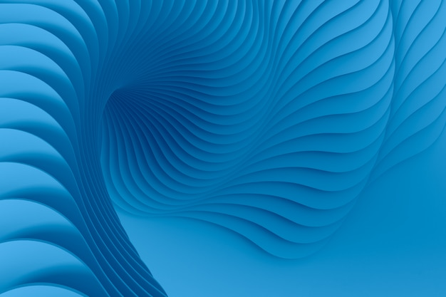 複数の円形トレッドの青い抽象的な三次元テクスチャは、ねじれたらせん状になっています。 3dイラスト。