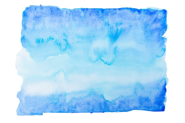 Blue abstract watercolor hand drawn background or texture.