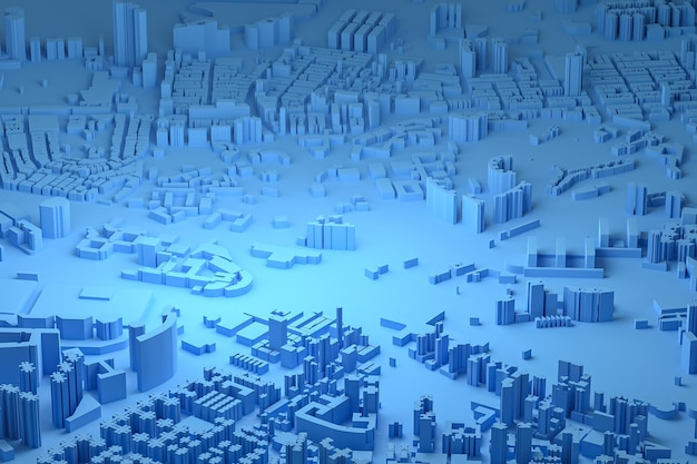 Голубой вид с воздуха на городские здания 3d-рендеринга синий фон карты