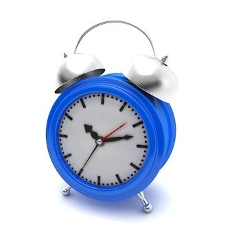 Синий будильник на белом изолированные