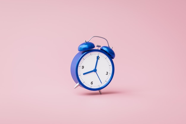 Blue alarm clock ringing on pink background with rush hour concept. notification to wake up time or work. 3d rendering.