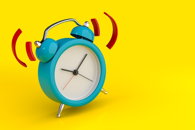 Blue alarm clock wake-up time isolated on yellow background. 3d rendering