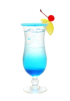 Blue alcohol cocktail isolated on white
