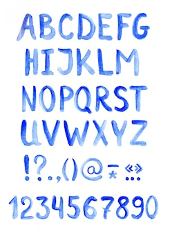 Blue alphabet font, letters, numbers and punctuation