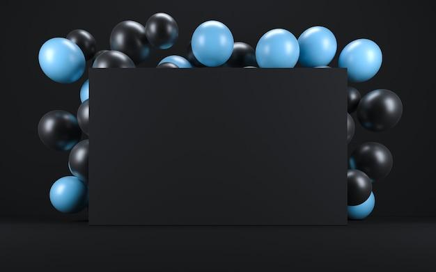 黒板の周りの黒いインテリアの青と黒の風船。 3dレンダリング