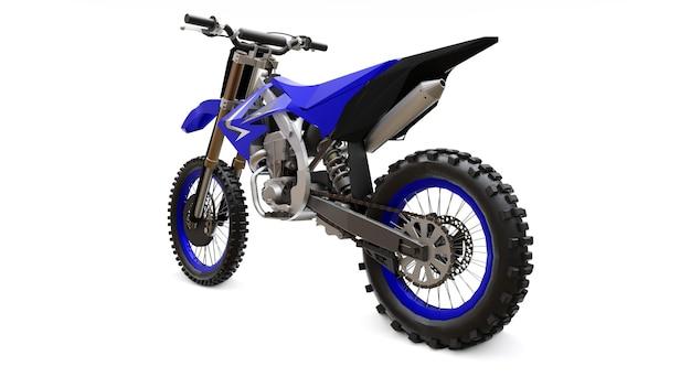 白い表面のクロスカントリー用の青と黒のスポーツバイク