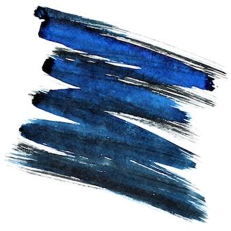 파란색과 검은색 지그재그 브러시 스트로크 흰색 배경에 고립. 디자인 요소