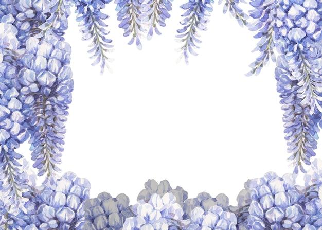 青と青の花手描き水彩パターン