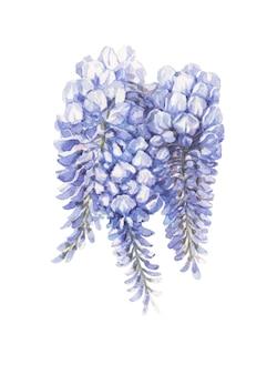 青と青の花手描き水彩シームレスパターン