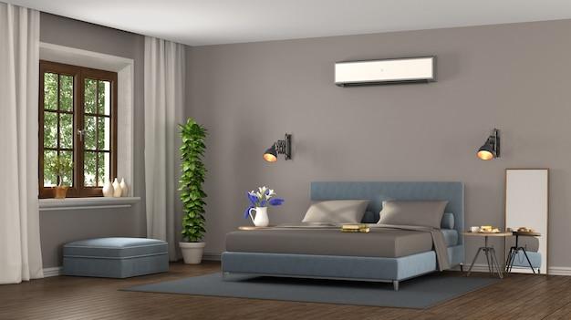 青と茶色のモダンなベッドルーム