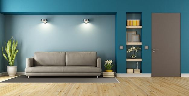 青と茶色のモダンなリビングルーム