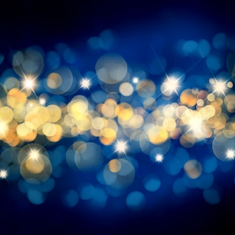 Blue and gold Christmas background with bokeh lights and stars
