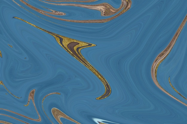 Синий и золотой мрамор абстрактный фон