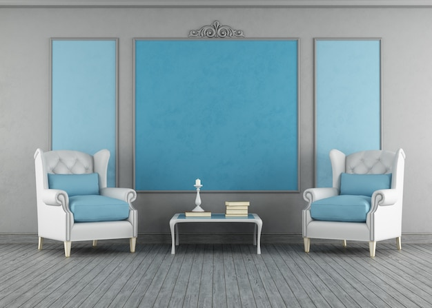 青と灰色のビンテージインテリア