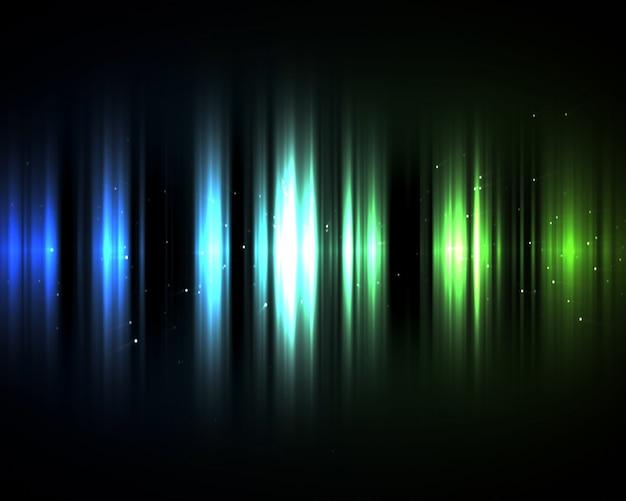 暗闇の中の青と緑のライト
