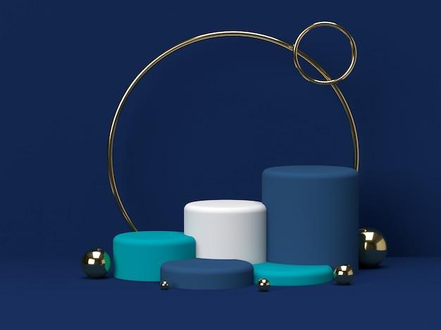 파란색과 녹색 파스텔 제품 배경에 서있다. 추상 최소한의 기하학 concept.3d 렌더링
