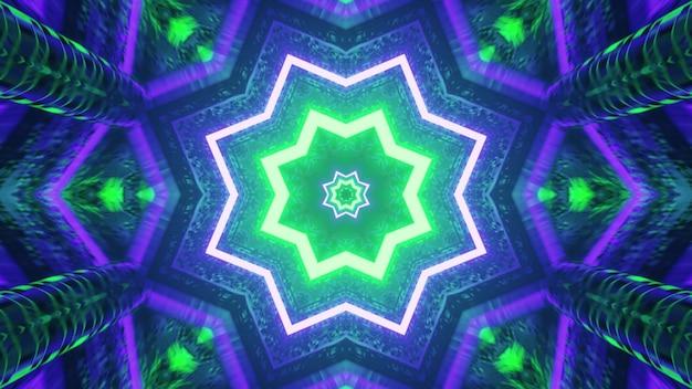 파란색과 녹색 별 모양의 터널 4k uhd 3d 그림