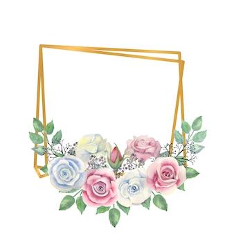 파란색과 분홍색 장미 꽃 녹색 골드 다각형 프레임에 열매를 나뭇잎