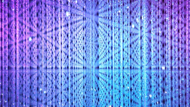 Синий и фиолетовый фон из точечных светодиодных ламп. дискотека и праздник подсвечиваются неоновым сиянием.