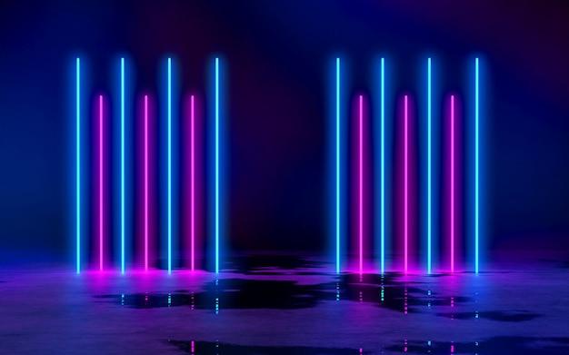 空の暗い部屋の青と紫のネオン管ライト3dレンダリングイラストバッハグラウンド