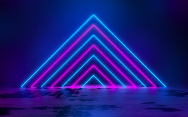 空の暗い部屋の青と紫のネオン管ライト3dレンダリングイラストの背景