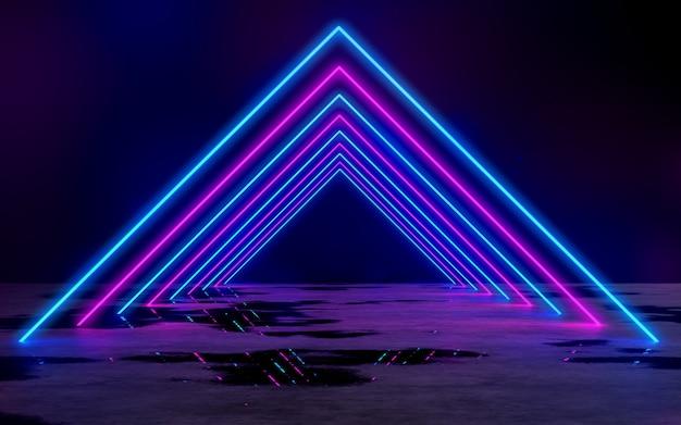 빈 어두운 방 3d 렌더링 그림 배경에서 파란색과 보라색 네온 튜브 조명