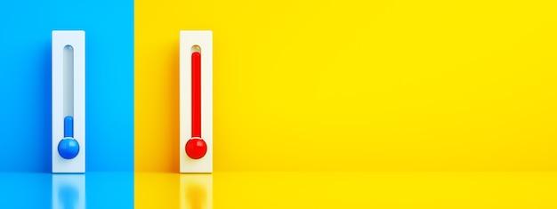 밝은 배경 위의 파란색 및 빨간색 온도계, 모든 날씨의 에어컨 조절, 3d 렌더링, 파노라마 이미지