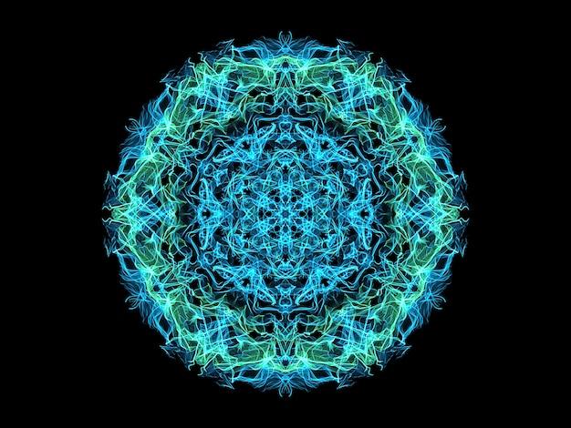 青とターコイズの抽象的な炎のマンダラスノーフレーク、観賞用の花のラウンドパターン