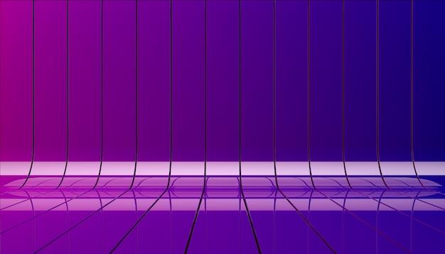 青と紫のリボン背景イラスト。ショーケースのテンプレートとしてのバックグラウンドステージ。