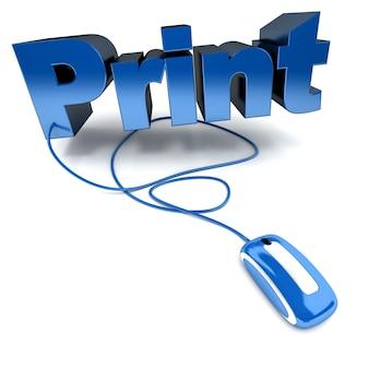 컴퓨터 마우스에 연결된 단어 인쇄의 파란색과 흰색 3d 그림