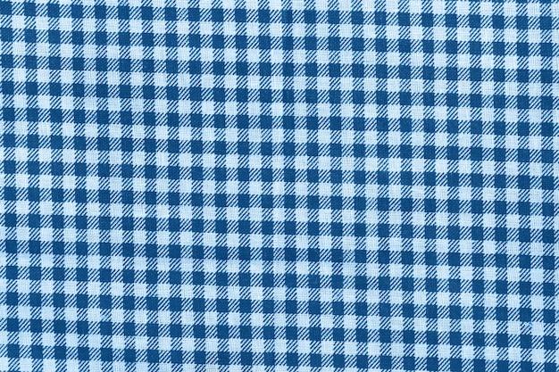 青と白の市松模様の綿生地の質感