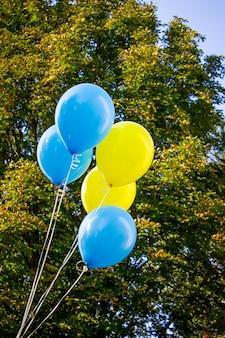 木の横にある青と黄色の風船