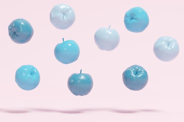 핑크 파스텔 배경에 떠있는 푸른 사과.