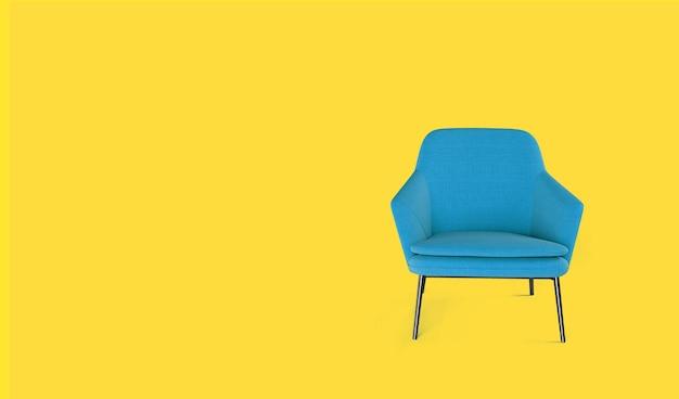 노란색 바탕에 파란색 안락의 자입니다.