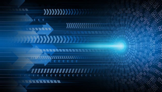 Синяя стрелка глаза кибер цепи будущей технологии концепции фон