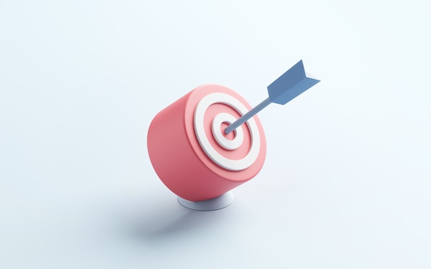 Blue arrow hit the center of target or goal of success