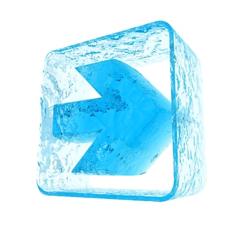 Blue arrow icon with an iced texture