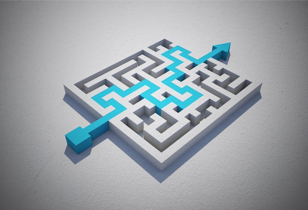 Blue arrow solving puzzle