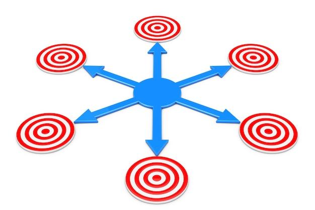 Синие стрелки как разные пути к целям на белом фоне. 3d-рендеринг.