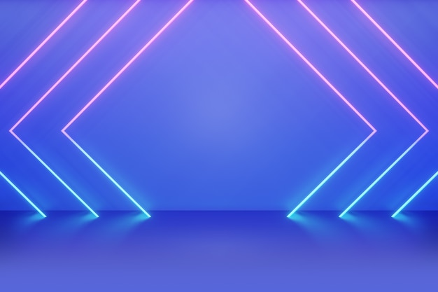 Blue backdrop neon lighting effect pink blue with glow background. 3d illustration rendering.