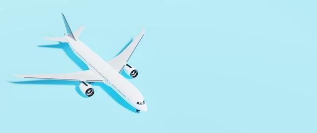 白い飛行機の3dレンダリングと青い背景バナー