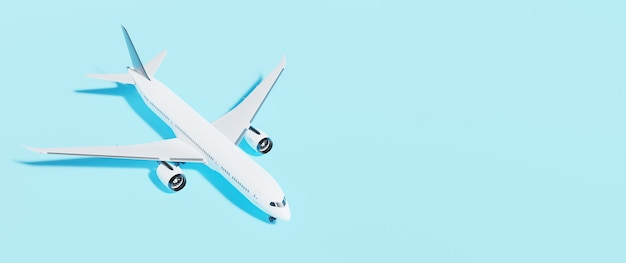 Blue background banner with a white airplane 3d rendering