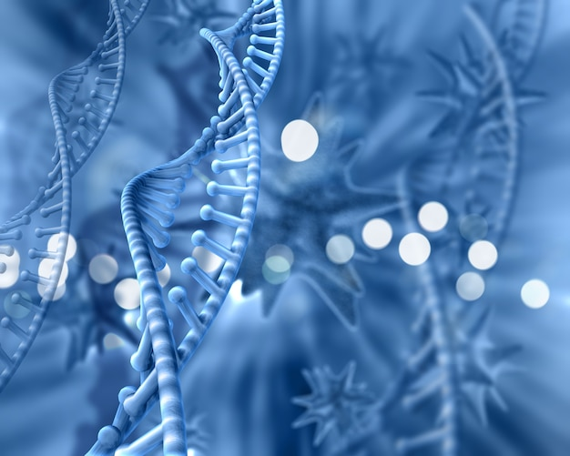 Blue background of dna with bokeh effect