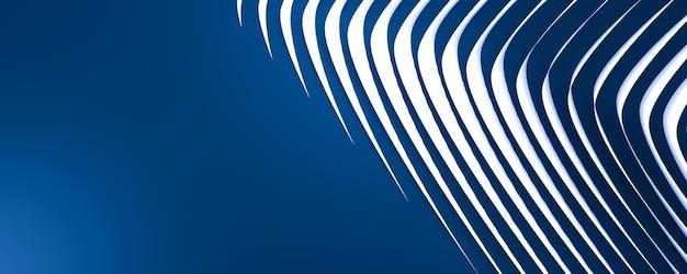 Синий фон с изящными белыми изогнутыми линиями 3d справа и местом для текста слева