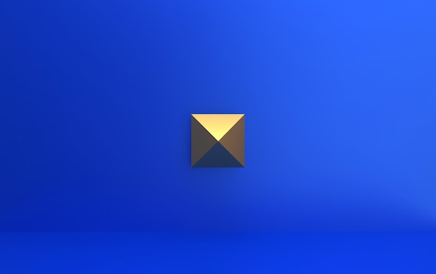 中間、3 dのレンダリングで黄金のピラミッドと青色の背景
