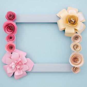 Blue background with elegant paper flowers frame