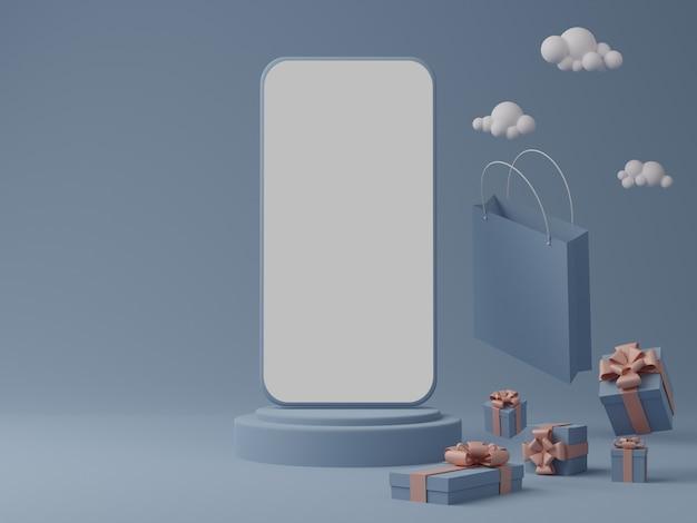 Синий фон с пустым белым экраном мобильного макета, подарочной коробкой и сумкой для покупок