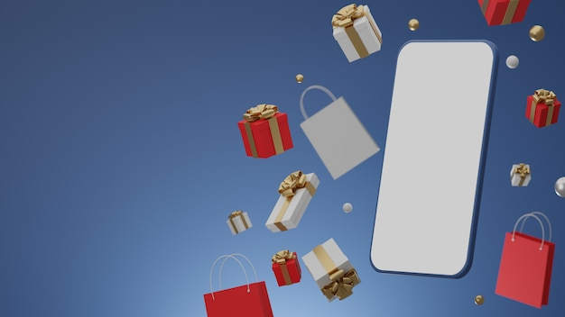 Blue background with empty white screen mobile mockup, gift box and shopping bag