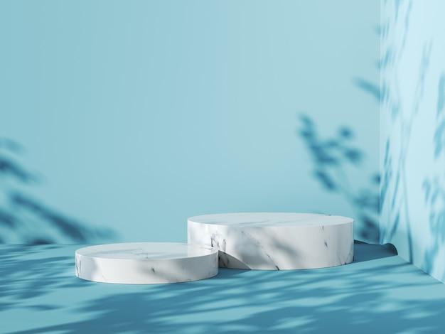 흰색 대리석 연단이 있는 파란색 배경, 3d 렌더링.